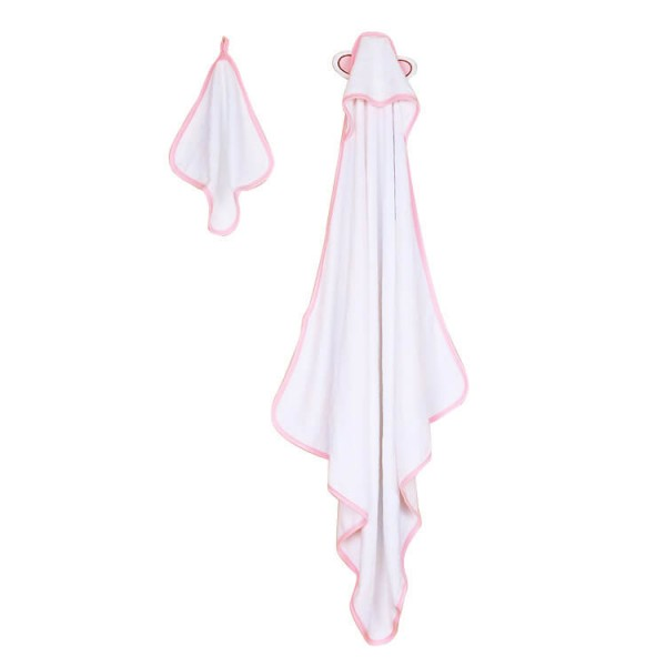 pink trim bamboo baby hooded towel + wash cloth baby bath