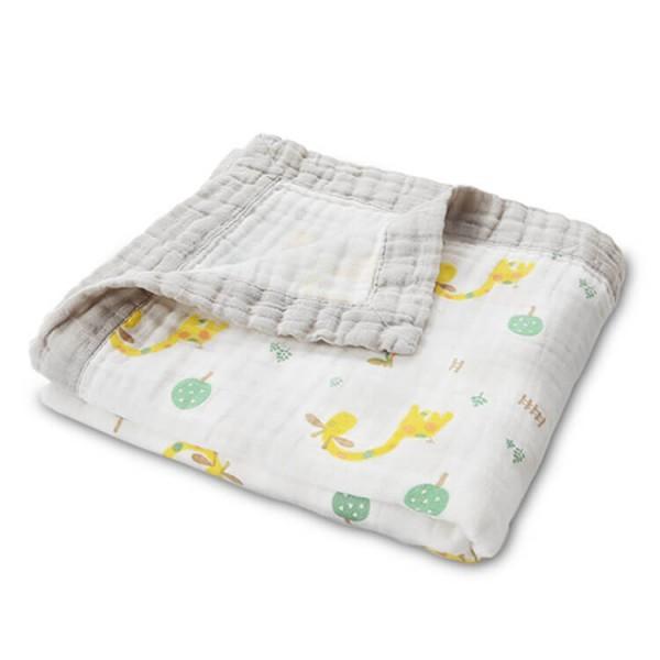 fawn baby muslin blanket with muslin trim