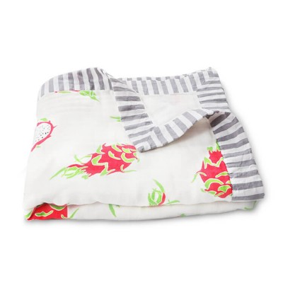 dragon fruit baby muslin blanket with muslin trim