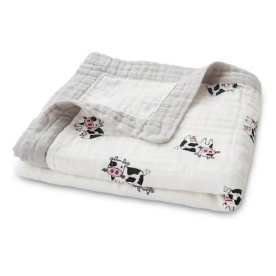 cow baby muslin blanket with muslin trim