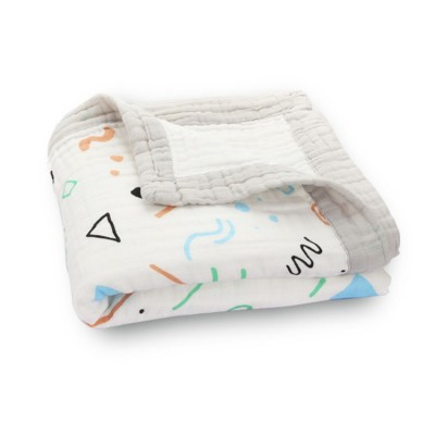 colorful geometry baby muslin blanket with muslin trim