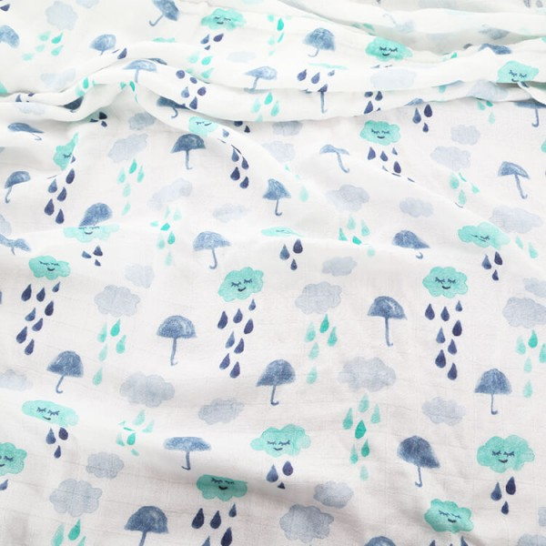 rainy day cloud muslin baby swaddle blankets