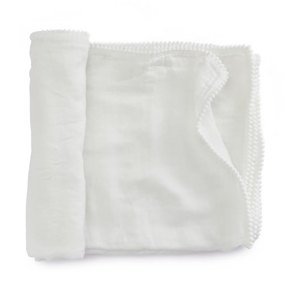 Pure White Muslin Baby Blankets With Pompom Edge