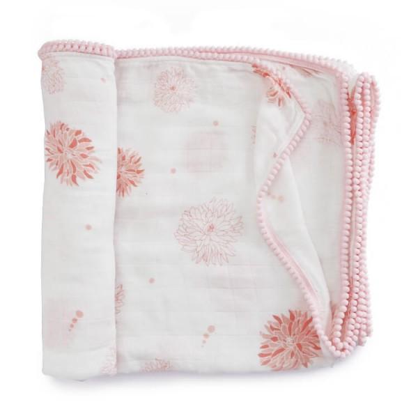pink trim chrysanthemum bamboo pom pom pram blanket