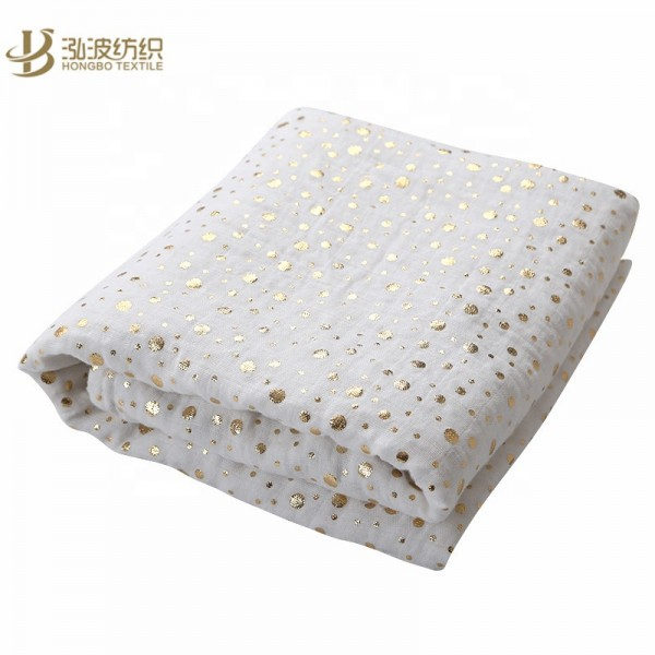 Metallic Gold Dot Muslin Swaddle Blanket