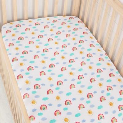 Rainbow muslin baby cot sheet