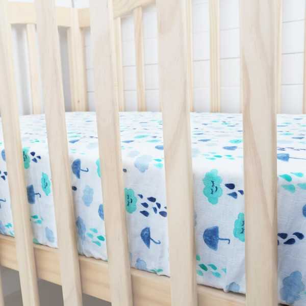 rainy day muslin crib sheet for baby