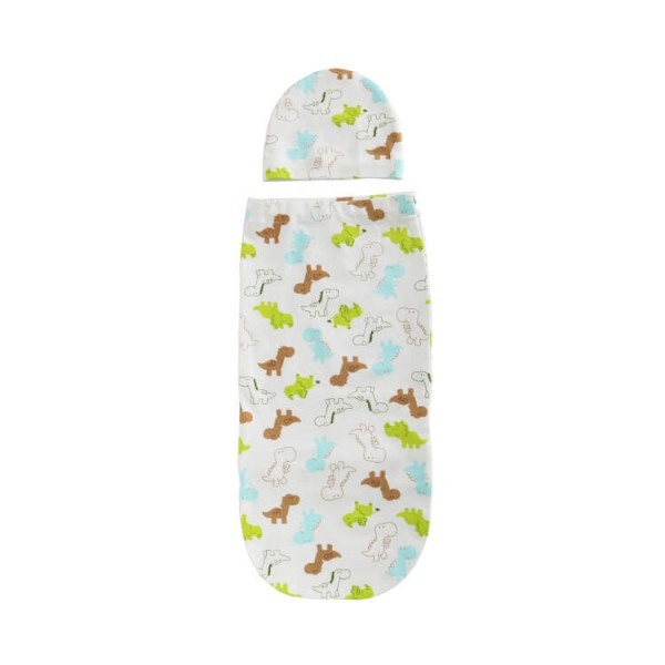 dinosaur or custom printing cotton jersey swaddle pod + headband
