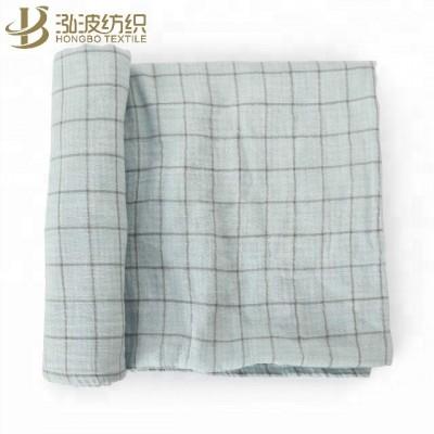 Organic cotton muslin green baby blanket