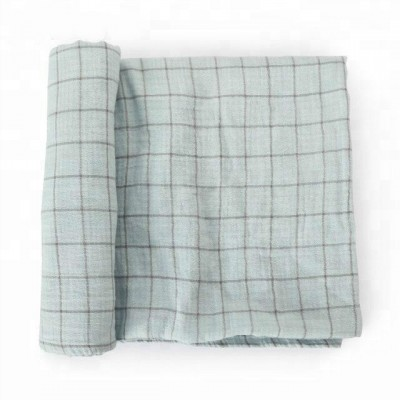 Organic cotton muslin green baby blanket