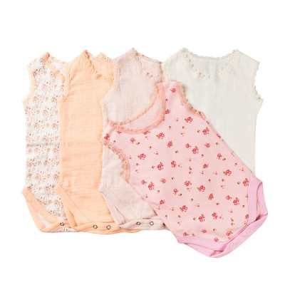 Muslin cotton short sleeve bodysuit