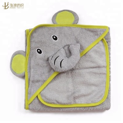 Bamboo terry elephant baby towel