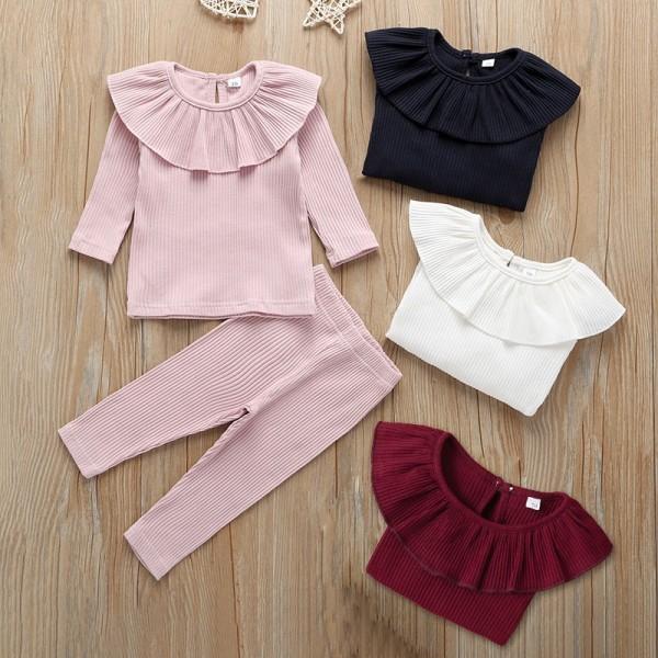 Rib fabric newborn baby girl clothes