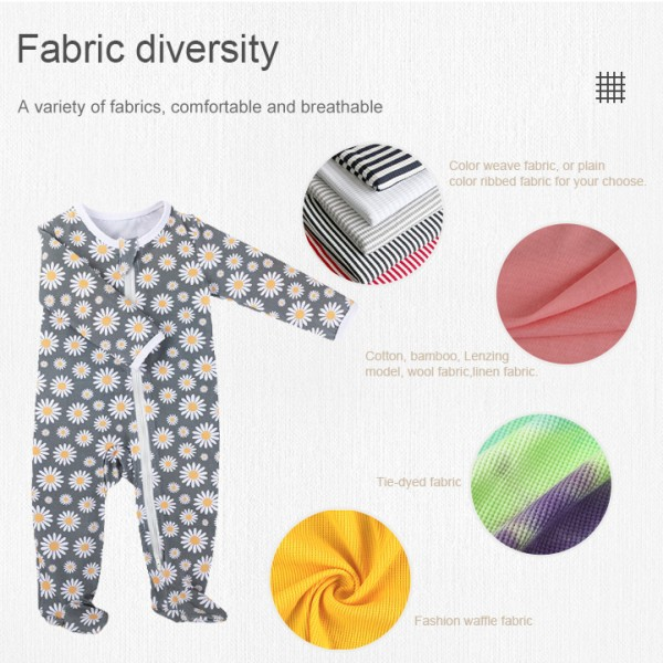 Organci cotton zipper baby pajamas baby rompers