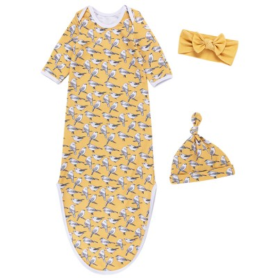 Baby Knotted Gowns With Hat Headwrap