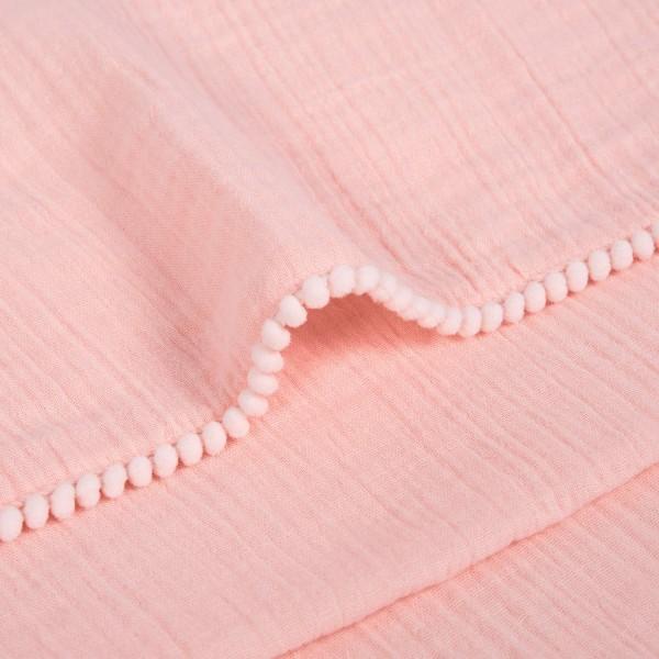 Pom edge musln baby blanket
