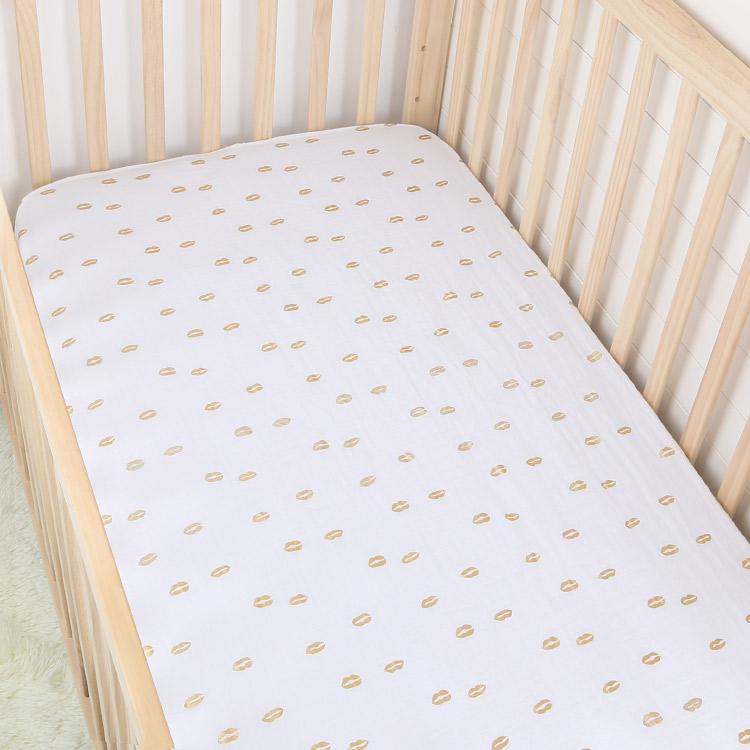 metallic gold lip cotton muslin baby fitted crib sheet - metallic gold lip cotton muslin baby fitted crib sheet