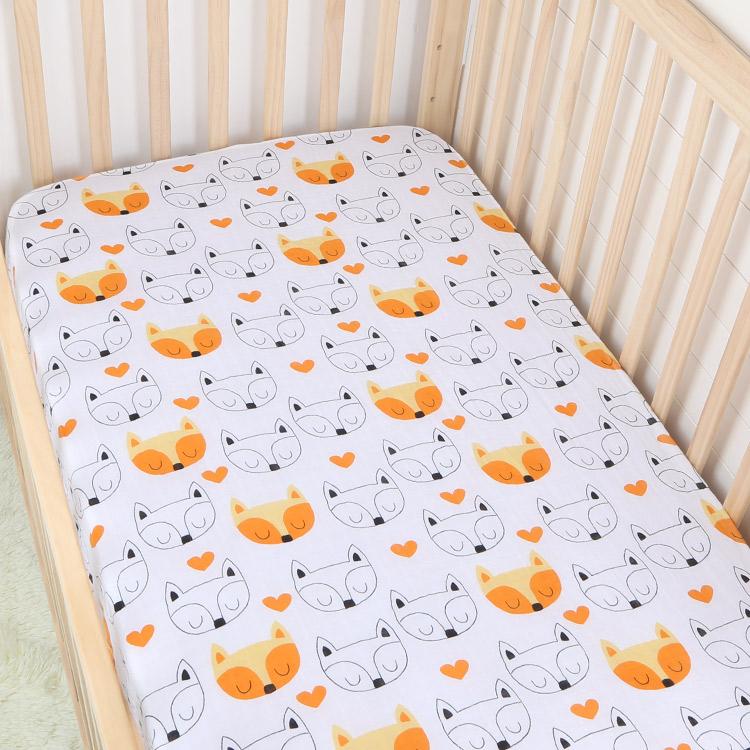 orange fox cotton muslin baby fitted crib sheet - orange fox cotton muslin baby fitted crib sheet