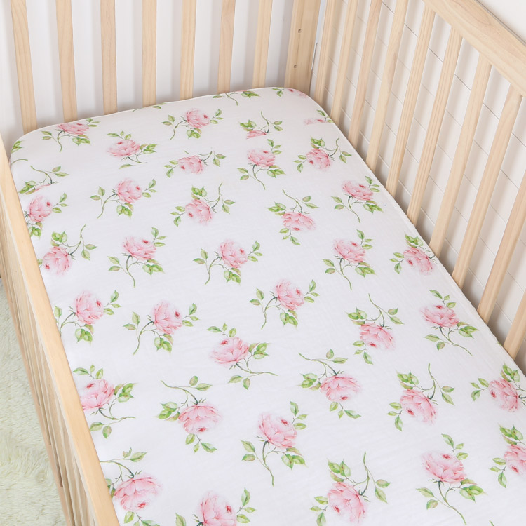 rose cotton muslin baby fitted crib sheet - rose cotton muslin baby fitted crib sheet