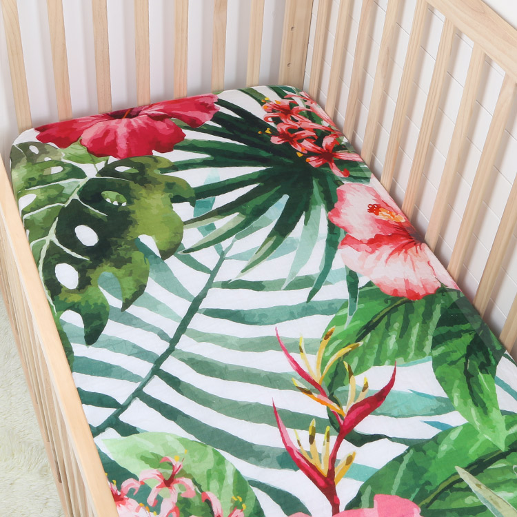 tropical flowers cotton muslin baby fitted crib sheet - tropical flowers cotton muslin baby fitted crib sheet