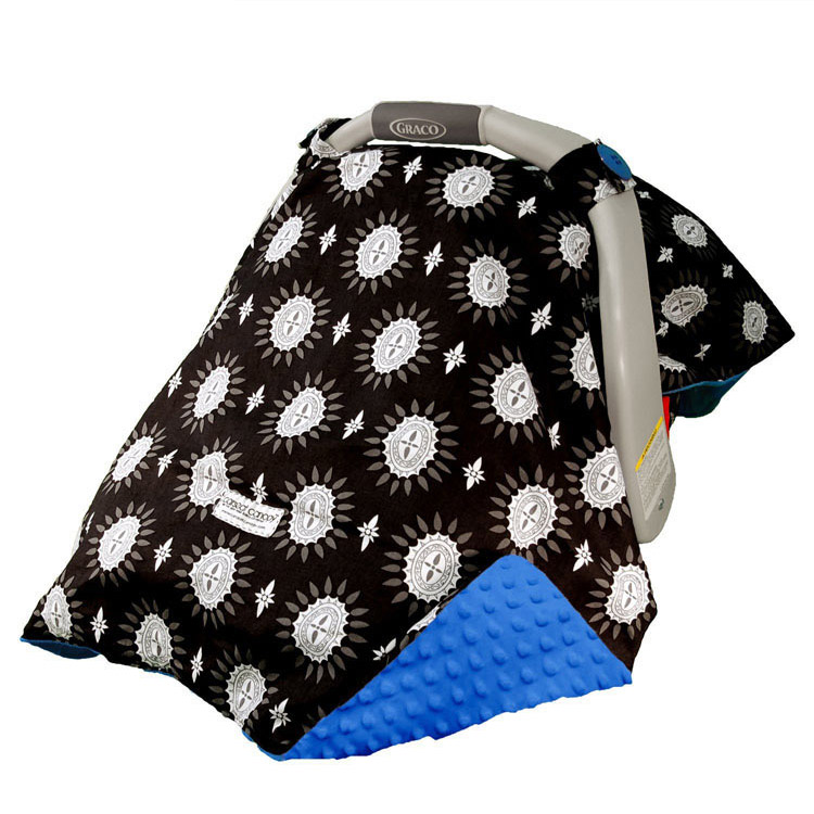 blue minky dot baby car seat cover - blue minky dot baby car seat cover