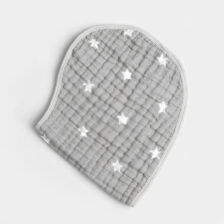 gray star 6 layer gauze muslin baby burp with button 2 - gray star 6 layer gauze muslin baby burp with button (2)