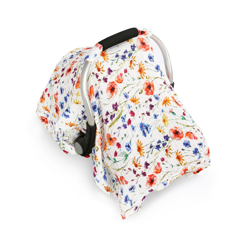 poppy flower muslin baby car seat cover - poppy flower muslin baby car seat cover
