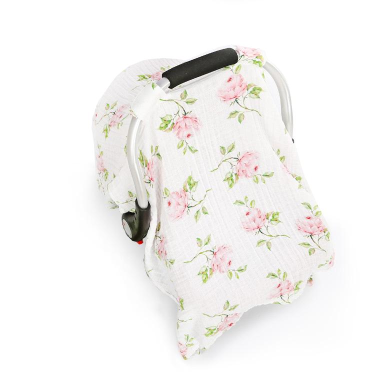 rose muslin baby car seat cover - rose muslin baby car seat cover