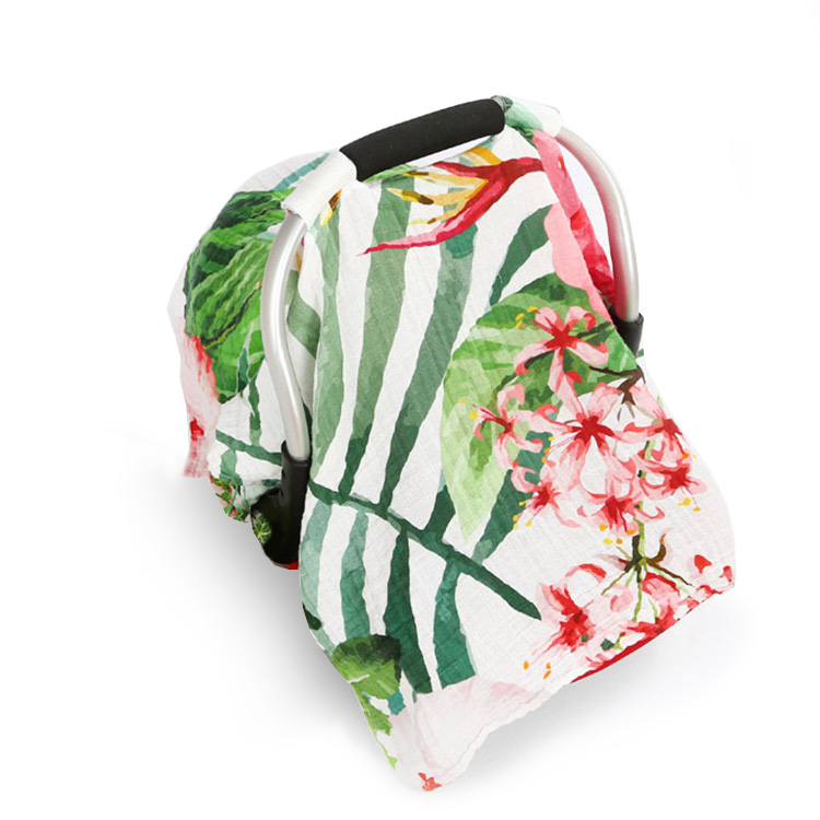 tropical flower muslin baby car seat cover 1 - tropical flower muslin baby car seat cover