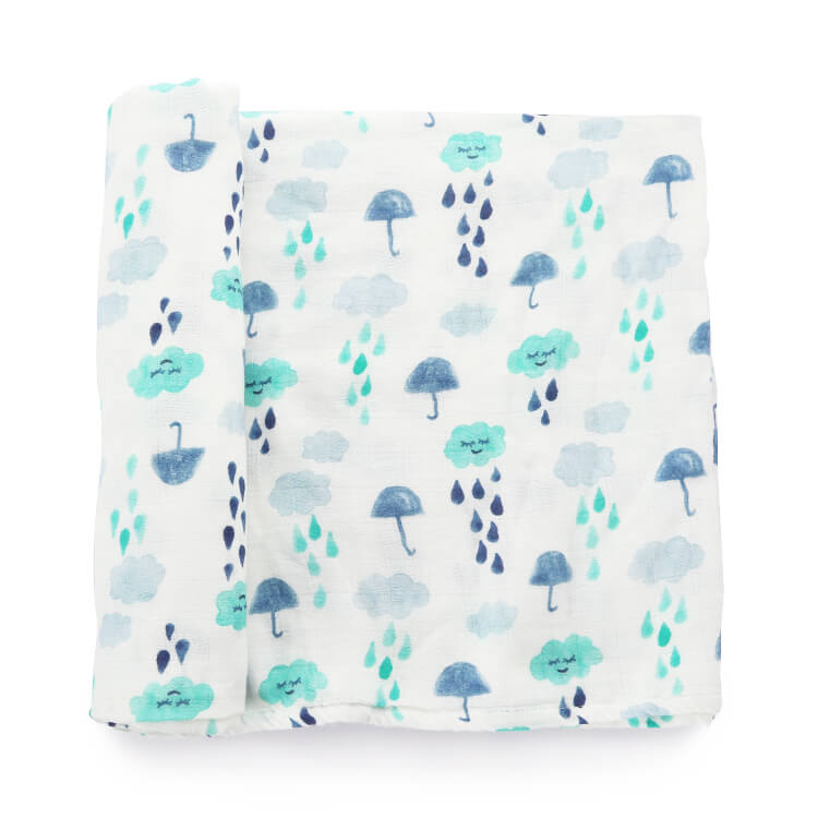 Rainy Day Cloud Muslin Baby Swaddle Blankets Hbbaby