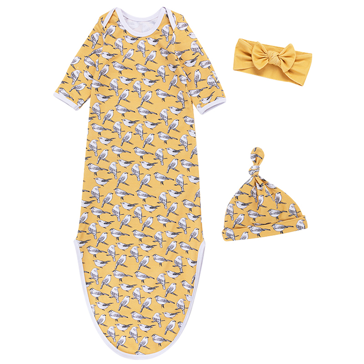 5 1 - Baby Knotted Gowns With Hat Headwrap